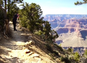 Jeff taking a photo from the Rim Trail, Grand Canyon