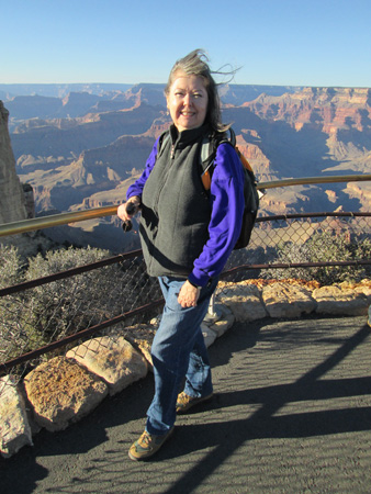 Linda-Ann Stewart at a windy Grand Canyon